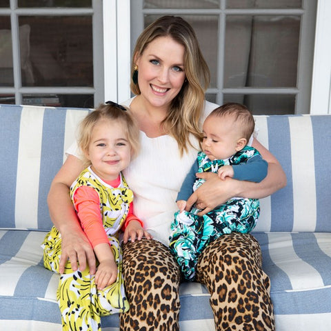 kelsey searles - cofounder of the colorful sleep sack company - MiliMili - with her two kids