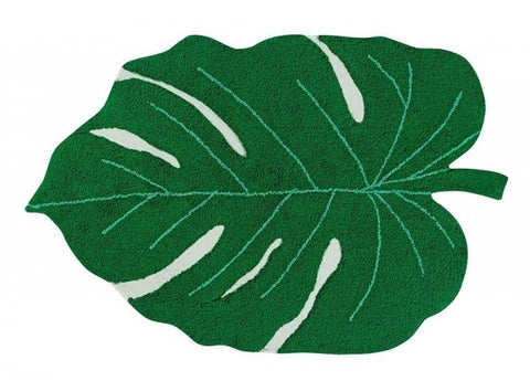 monsterra leaf washable rug - green
