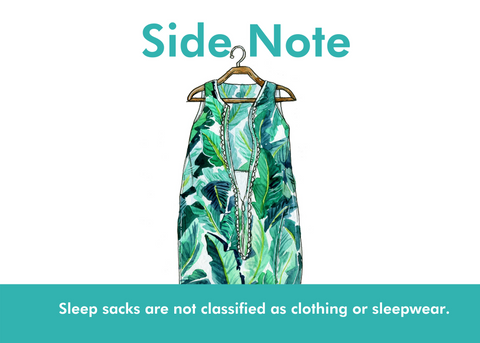 Side note: image of palm print tropical sleep sack - sleep sacks are not classified as clothing or sleepwear