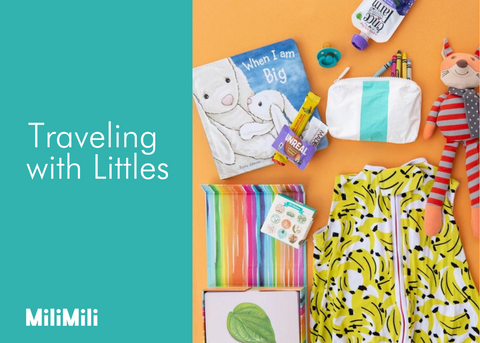traveling with littles from milimili - featuring sleep sack, book, snacks, aloha collection case, cards, stickers, crayons, pacifier and stuffed animal