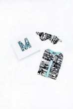 Load image into Gallery viewer, Black and White watercolor print gift set, including eye mask and sleep sack, shown with gift box