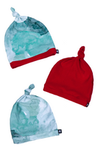 Load image into Gallery viewer, top knot baby beanies in holiday prints