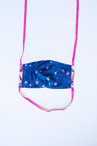 back of milimili crane face mask - featuring navy blue and hot pink star print