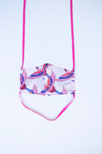 Load image into Gallery viewer, front of milimili crane face mask - featuring pink, blue and lilac bird print