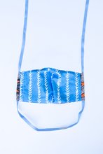Load image into Gallery viewer, back of milimili fish face mask - featuring blue and white vine print