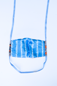 back of milimili fish face mask - featuring blue and white vine print