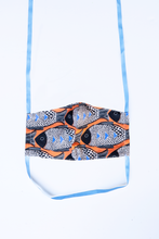 Load image into Gallery viewer, front of milimili fish face mask - featuring orange blue and black fish print