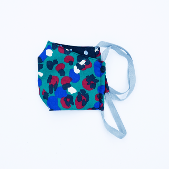 teal red and blue leopard print kids' face mask in breathable 100% cotton with black backing