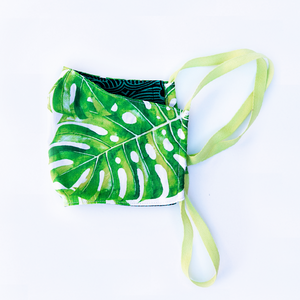 green monstera palm print face mask with reversible blue backing -  milimili