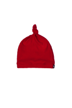 Load image into Gallery viewer, top knot baby beanie, red