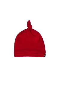 top knot baby beanie, red