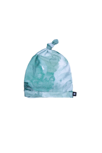 top knot baby beanie, teal watercolor print