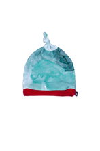 Load image into Gallery viewer, top knot baby beanie, teal watercolor with red trim
