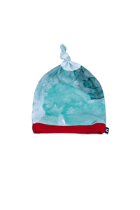 top knot baby beanie, teal watercolor with red trim