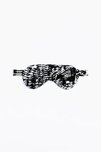 Power nap eye mask, shown in Kilauea (black and white) print