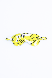 Power nap eye mask, shown in Kona Banana (yellow banana) print