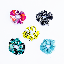 Load image into Gallery viewer, five scrunchies in all available prints: kauai one, kona banana, gauva sunset, kilauea, and aquamarine