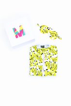 Load image into Gallery viewer, MiliMili Everybody Naps set - with Kona Banana print sleep sack and matching banana eye mask in gift box