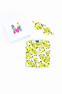 MiliMili Everybody Naps set - with Kona Banana print sleep sack and matching banana eye mask in gift box