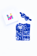 Load image into Gallery viewer, MiliMili Everybody Naps set - with Playa Blue - tie dye style sleep sack and matching blue tie dye eye mask in gift box