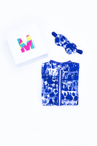 MiliMili Everybody Naps set - with Playa Blue - tie dye style sleep sack and matching blue tie dye eye mask in gift box