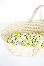 Load image into Gallery viewer, MiliMili Kona Banana  print bassinet sheet, made from the softest bamboo fabric, shown in standard moses basket