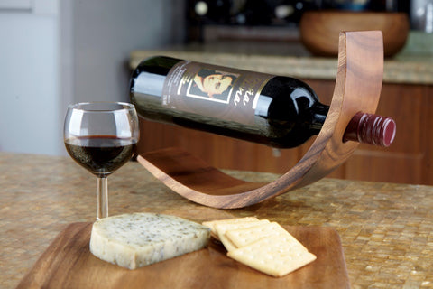 Acacia Curved Wine Bottle Holder