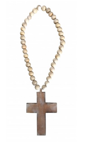 Chunky Beads with Cross - Natural