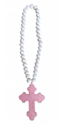 Chunky Beads with Cross - Pink