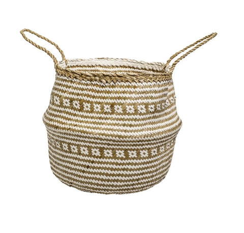 Woven Seagrass Basket - White/Natural