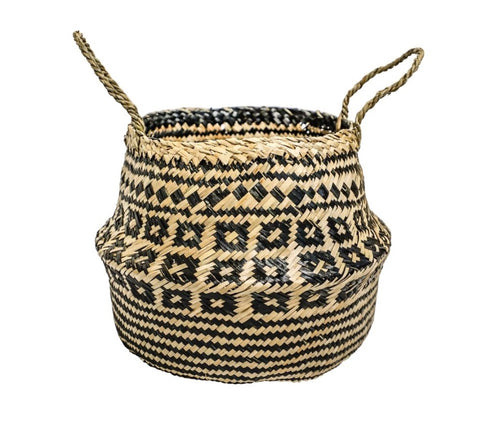 Woven Seagrass Basket - Black/Natural
