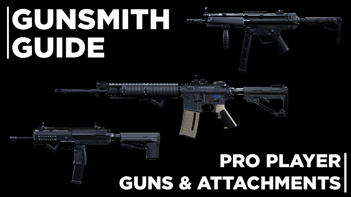 Image of three modded weapons from Call of Duty: Modern Warfare. Gunsmith Guide. Pro Player guns and attachments.
