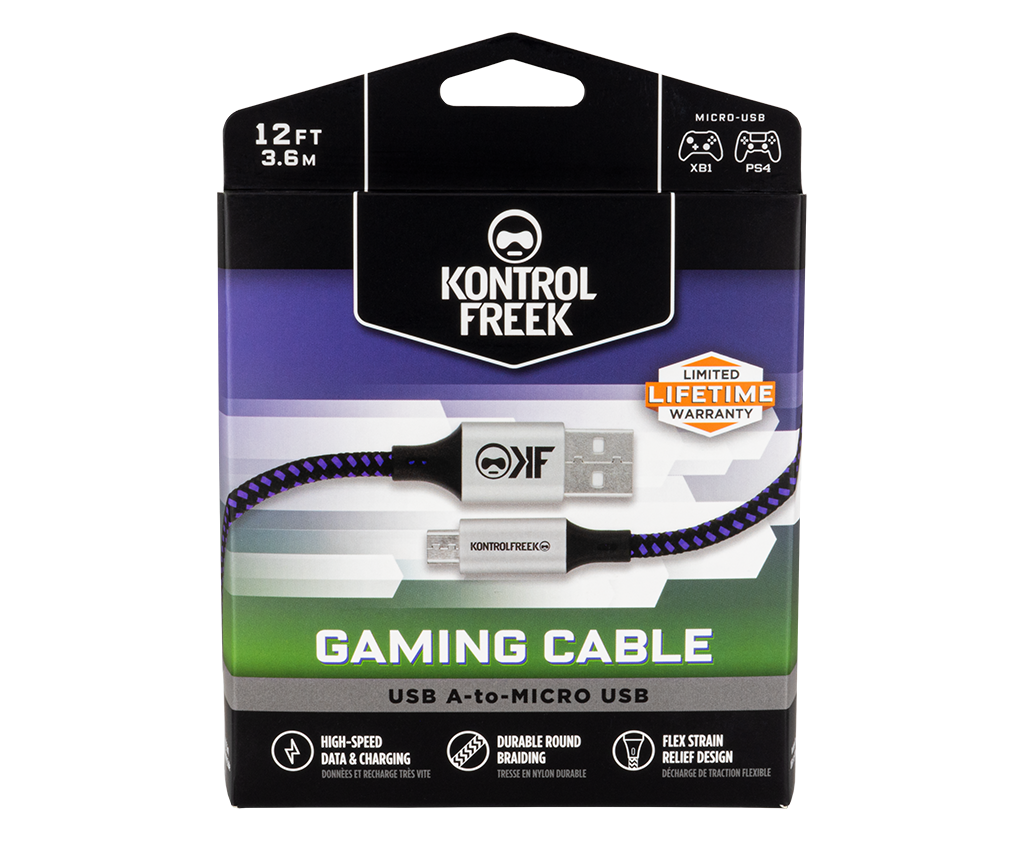 12FT USB A-to-Micro Gaming Cable
