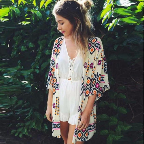 Sexy Women Floral Chiffon Geometry Loose Beach Cover