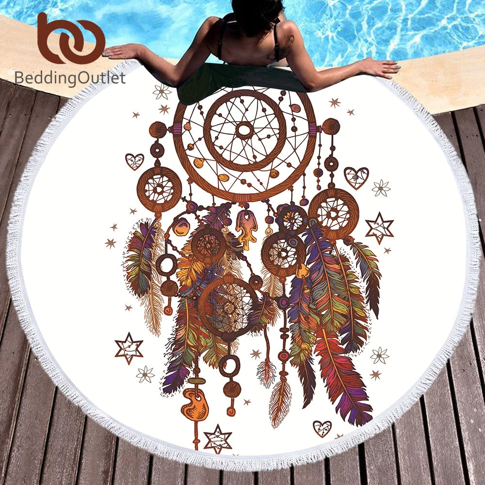 Dreamcatcher Watercolor Tassel Mandala Round Beach Towel