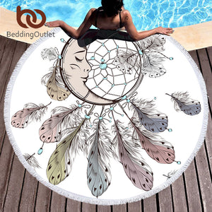 Moon and Dreamcatcher Bohemian Round Beach Towel
