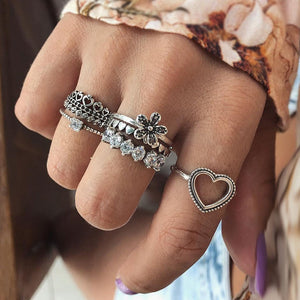 RAVIMOUR Boho Kunckle Ring Set Jewellery 6pcs