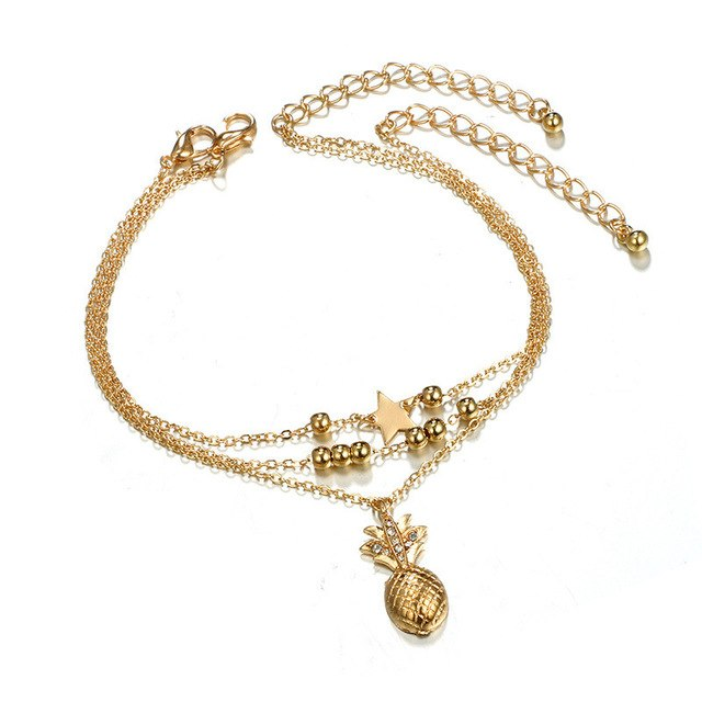 ZN Fashion Small Pineapple Three-Layer Chain Anklet For Women