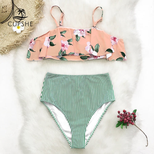 CUPSHE Pink Floral Print And Green Striped Ruffle Bikini Set