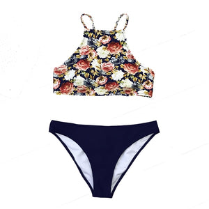 CUPSHE Floral And Navy Braided Strap Tank Bikini Set
