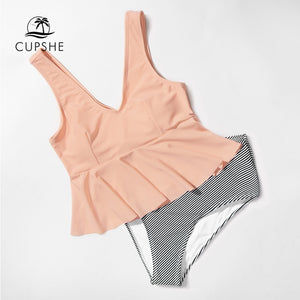 CUPSHE Pink Peplum And Striped Ruffle High-waist Two Pieces Swimsuit