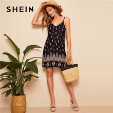 Load image into Gallery viewer, SHEIN Black Sexy Tribal Print Cami Summer Dress