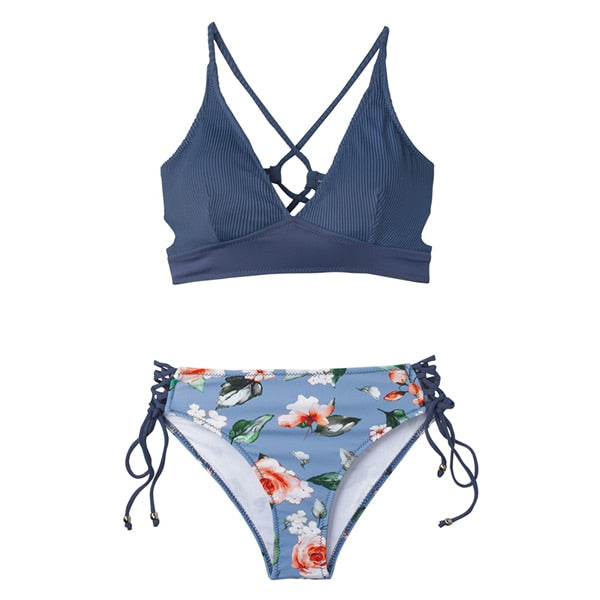 CUPSHE Sexy Blue And Floral Lace-Up Bikini Set