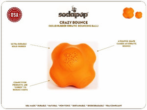 SodaPup - Crazy Bounce Retrieving Toy - Orange Squeeze