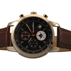 CROC-EMBOSSED BROWN LEATHER STRAP