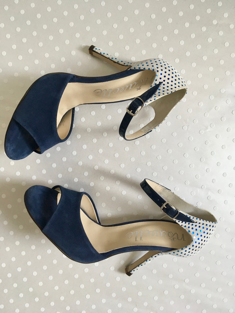 blue and white polka dot ladies high heeled tango shoes
