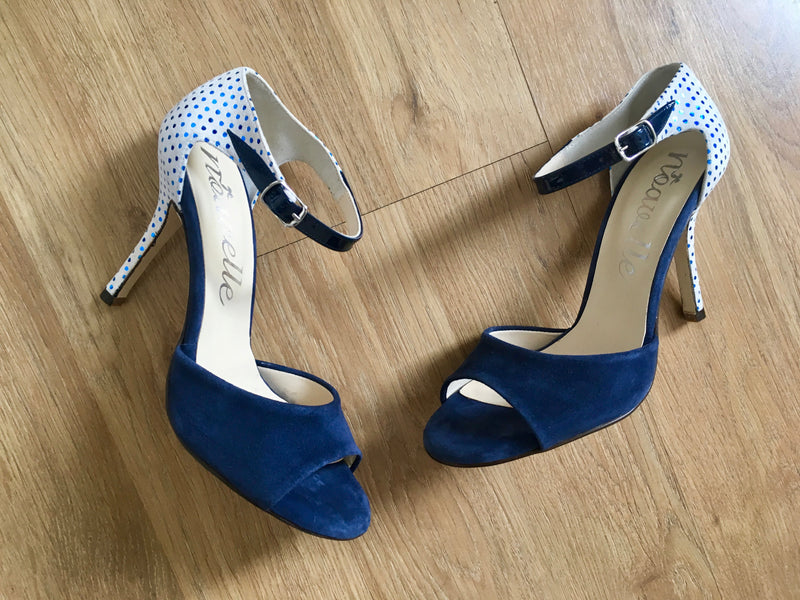 elegant blue and white polka dot ladies high heeled suede leather shoes