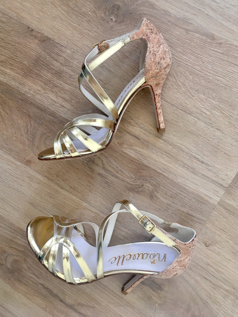 natural cork and soft gold leather high heeled shoes