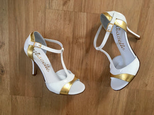 Beautiful White and Gold Leather Women's High Heeled Shoes