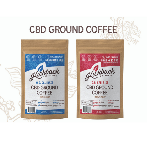 Kickback CBD Coffee Ground  - 226 Gram Bag - Dark & Medium Roasts